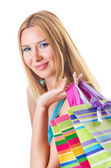 Attractive woman after happy shopping — Stock Photo