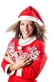 Kvinna jultomten på vit — Stockfoto