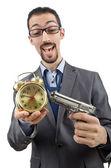 Podnikatel zabíjet čas na bílém pozadí — Stock fotografie