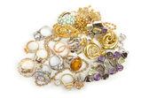 Mnóstwo biżuterii na biały — Zdjęcie stockowe