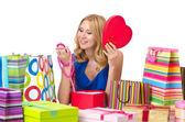 çekici kız alışveriş torbaları ile — Stok fotoğraf