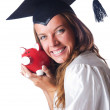 Student and piggy bank on white — Stock Photo #13631356