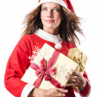 Woman santa claus on white — Stock Photo