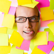 Woman with lots of reminder notes — Stock Photo #13633464