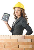 Expensive construction concept with woman — Foto Stock