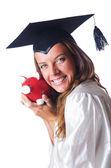 Student i piggy bank biały — Zdjęcie stockowe