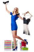 Mulher atraente, tentando novas roupas em branco — Fotografia Stock