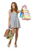 Chica feliz después de ir de compras — Foto de Stock