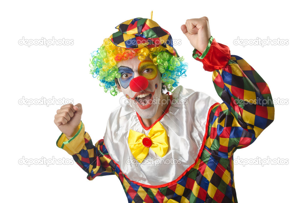 Funny clown on the white  Stock Photo #13630879