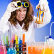 Funny female chemist in lab — Stock Photo