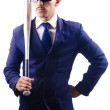 Handsome businessman with bat on white — Stock Photo #13872593