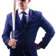 Handsome businessman with bat on white — Stock Photo