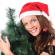 Christmas girl isolated on the white - Stockfoto