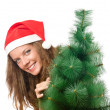 Young woman with christmas tree - Foto de Stock