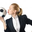 Businesswoman with football on white — Stock Photo #13872882