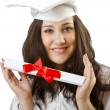 Happy student celebrating graduation on white — Foto de Stock   #13873033
