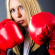 Woman boxer in dark room — Lizenzfreies Foto