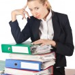 Woman with lots of work — Stock Photo