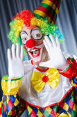 Funny clown in studio shooting — Stock Photo