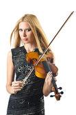 Kvinna spela fiol på vit — Stockfoto