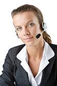 Attractive helpdesk operator on white — Stock Photo