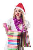 Giovane donna nel concetto dello shopping di natale — Foto Stock