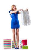 Mujer atractiva ropa nueva en blanco — Foto de Stock
