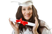 Happy student celebrating graduation on white — Stock Photo