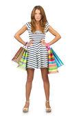 Büyük alışveriş sonra mutlu kız — Stok fotoğraf