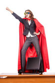 Businesswoman in superwoman concept — Foto Stock