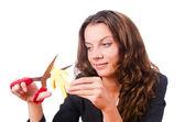 Kvinna med papper skära — Stockfoto