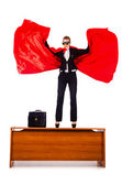 Superwoman standing on the desk — Foto Stock