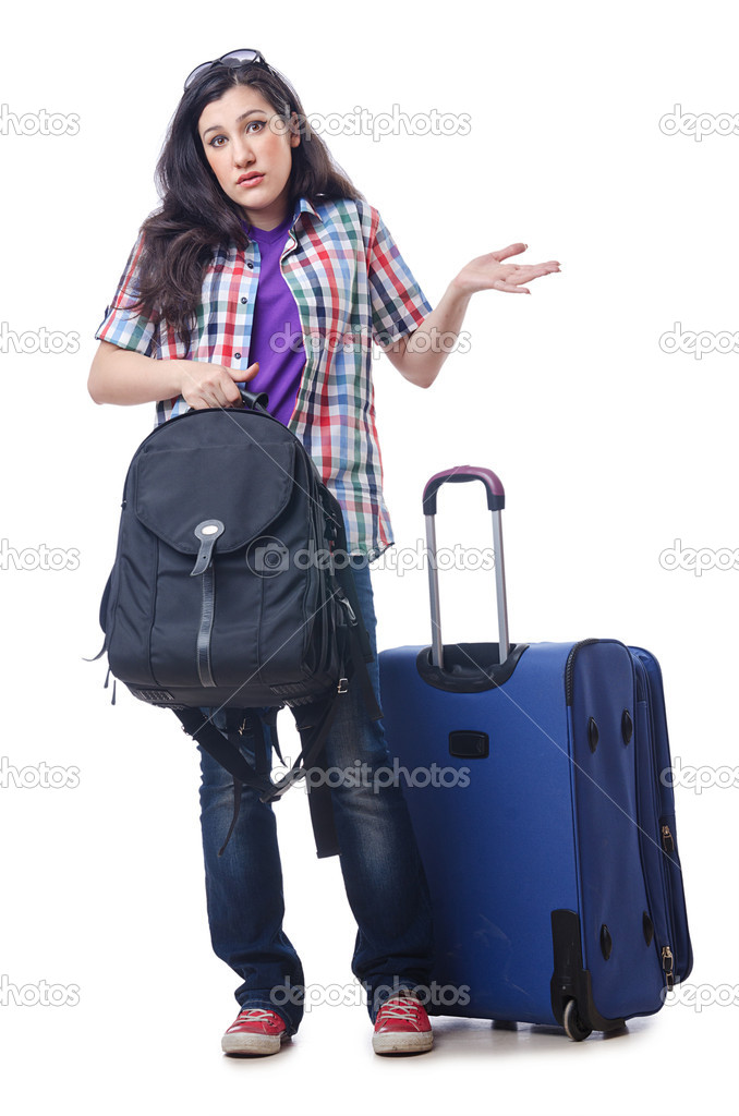 Girl preparing to travel for vacation — Zdjęcie stockowe #13873481
