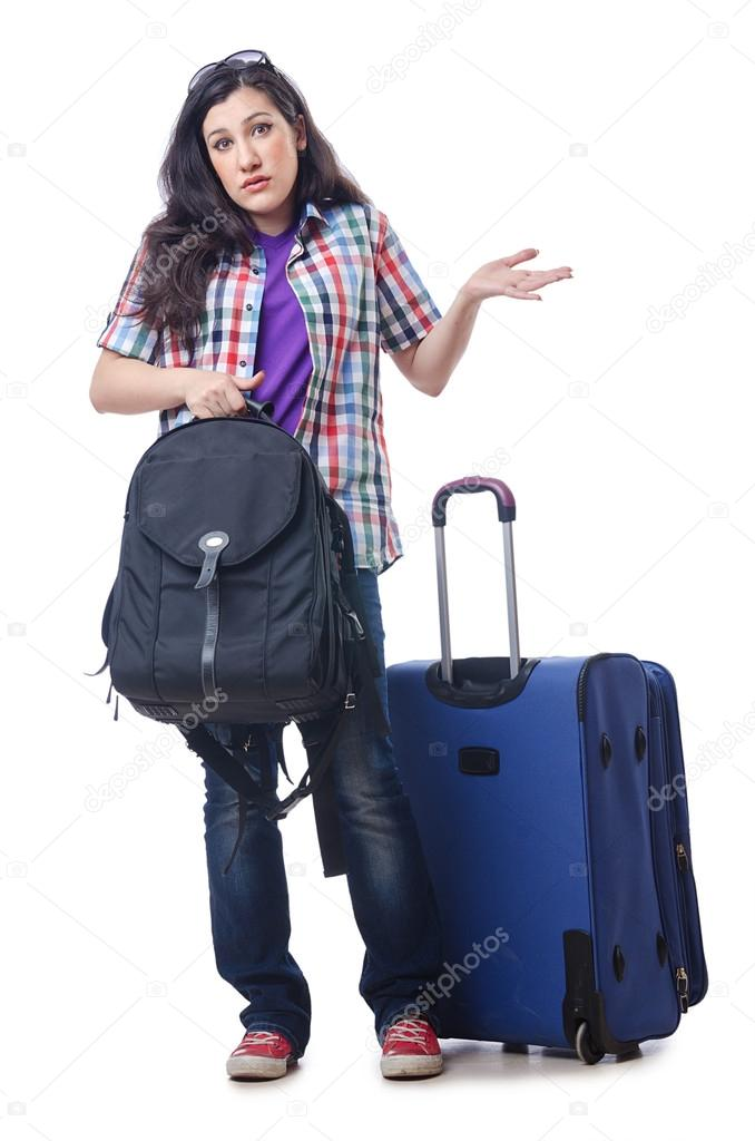 Girl preparing to travel for vacation  Stok fotoraf #13873481