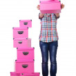 Girl with stack of giftboxes on white — Stock Photo