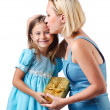 Happy mom and daughter on white — Stock Photo #14047704