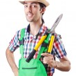 Stock Photo: Mgardener with shears on white
