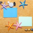 Blank message on sand and pebbles — Stock Photo