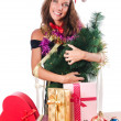 Christmas girl isolated on the white - Foto Stock