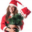 Christmas girl isolated on the white — Stock Photo