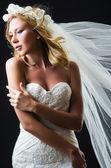 Bride in white dress in studio — Stock Photo
