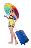 Woman going to summer vacation with suitcase — Stock Photo