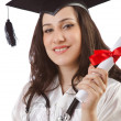 Graduate with diploma on white - Stock Photo