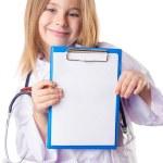 Little girl in doctor costume — Stock Photo