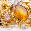 Stock Photo: Large collection of gold jewellery