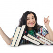 Stock Photo: Tired student with textbooks on white