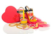 Shoes and other woman accessories — Stock Photo