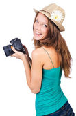 Attractive female photographer on white — Foto Stock