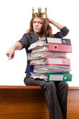 Businesswoman with lots of folders — Stock Photo