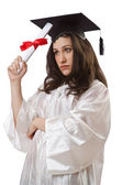 Graduate with diploma on white — Stock Photo